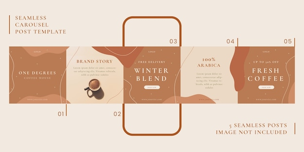 Seamless carousel post template with coffee theme for social media