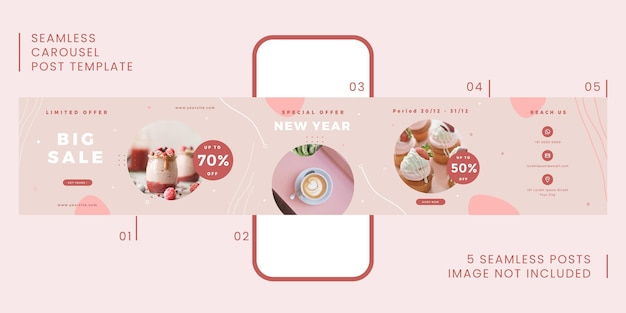 Seamless carousel post template with foodie theme for social media.