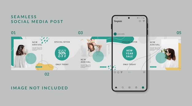 Seamless carousel puzzle social media post template