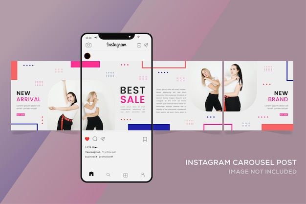 Seamless carousel templates for fashion sale instagram post
