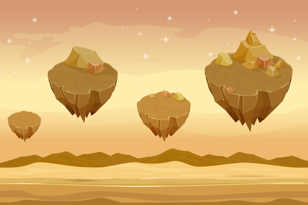 Seamless cartoon desert landscape, sandy desert with mountains on background.