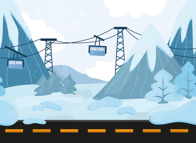 シームレスな漫画の丘の風景、地面、丘、山、ケーブルカーとベクトルの背景