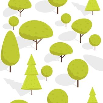 Бесшовные мультфильм изометрические деревья узор векторные иллюстрации.