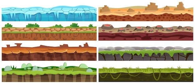 Seamless cartoon   landscape design set. ground floor collection for game interface.