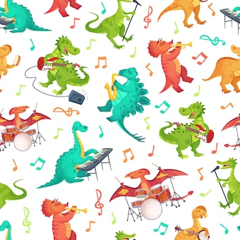 Seamless cartoon music dinosaurs pattern. dino band, cute dinosaur playing music instruments and rockstar tyrannosaurus illustration.