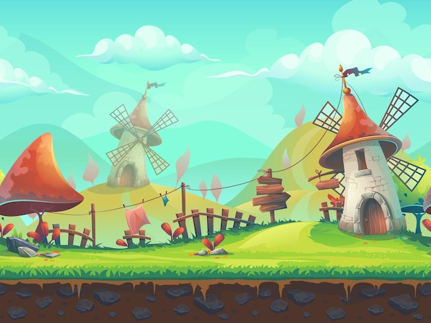 Seamless cartoon stylized vector illustration on the theme of the european landscape with a windmill.