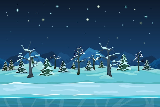 Seamless cartoon winter night landscape. snow tree, season drawing design,