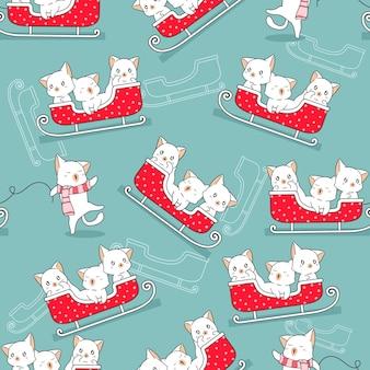 クリスマスの日のパターンでシームレスな猫とそり