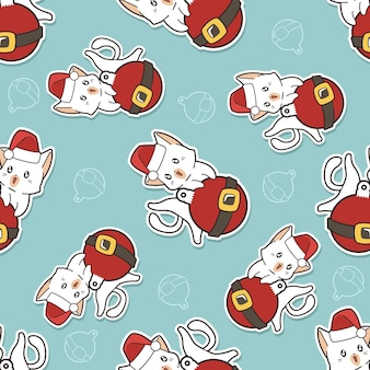 Seamless cat and christmas ball pattern