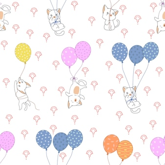 Seamless cat and colorful balloons pattern.