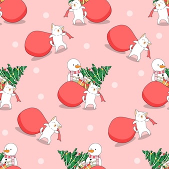Seamless cat in cristmas pattern