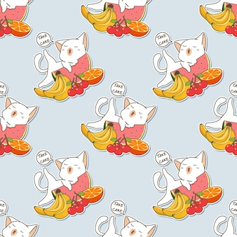 Seamless cat and fruits pattern