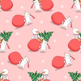 クリスマスパターンのシームレスな猫