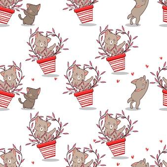 꽃병과 친구 패턴의 원활한 고양이