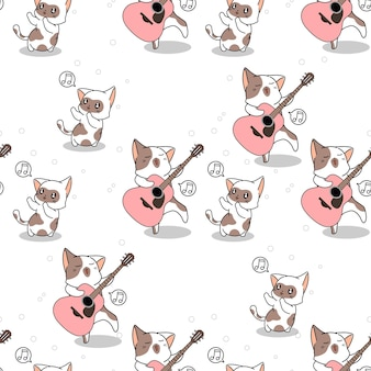 Seamless cat is playing guitar pattern