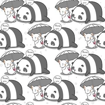 Seamless cat is taking care panda pattern.