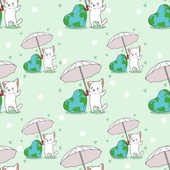 シームレスな猫は世界のパターンが大好き