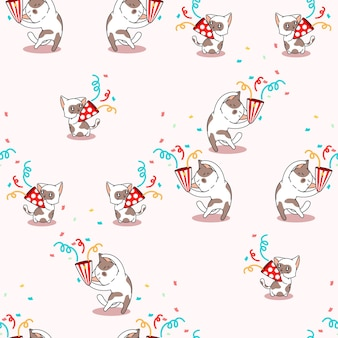 Seamless cat in party pattern