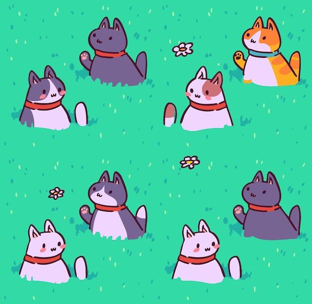 シームレスな猫のパターン漫画の動物の背景生地の壁紙のラッピングに最適