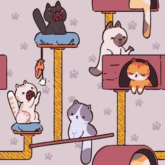 シームレスな猫のパターン漫画の動物の背景生地の壁紙に最適