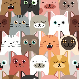 Seamless cat pattern