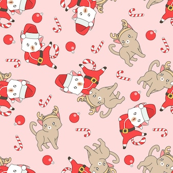 Seamless cat and umbrella of heart pattern
