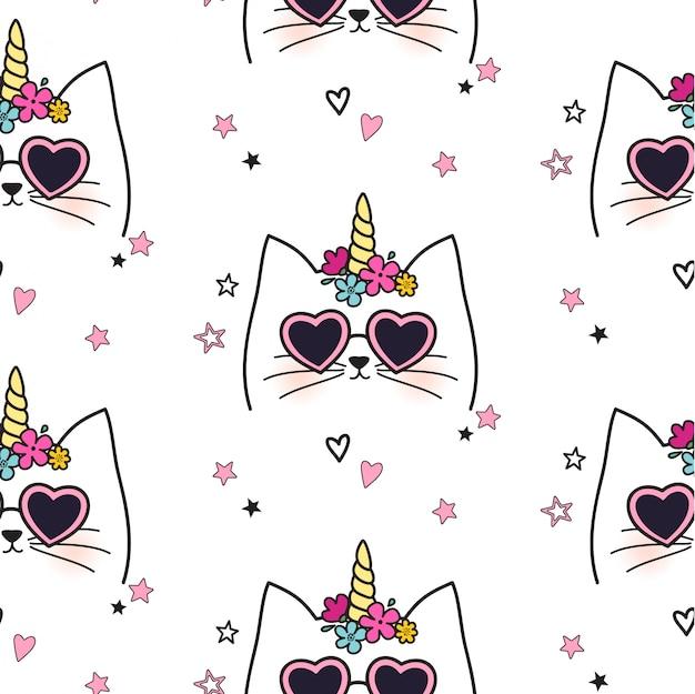 シームレスな猫ユニコーンパターン