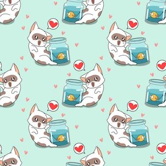 작은 물고기 패턴으로 원활한 고양이