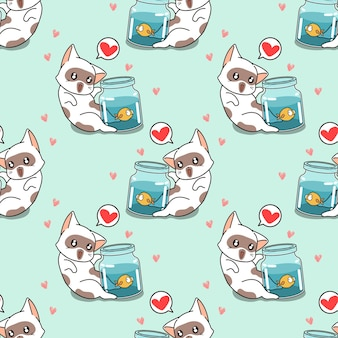 Seamless cat with a little fish pattern