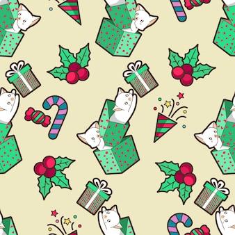 シームレスな猫とクリスマスプレゼントのパターン