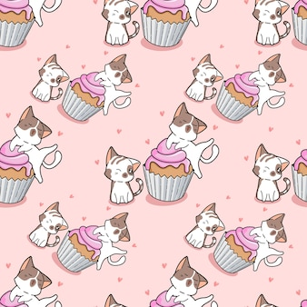 シームレスな猫とカップケーキのパターン