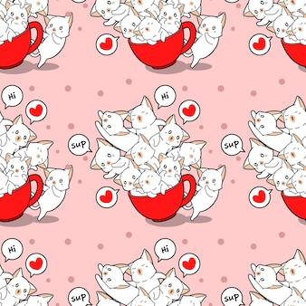 Бесшовные кошки и в образце чашки