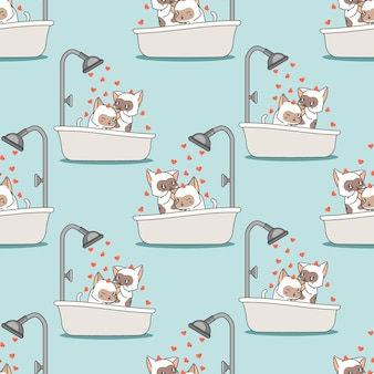 Seamless cats are bathing pattern
