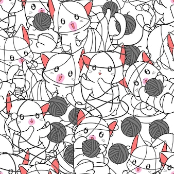 Seamless cats are naughty pattern.