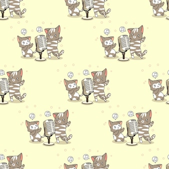 Seamless cats are singing pattern