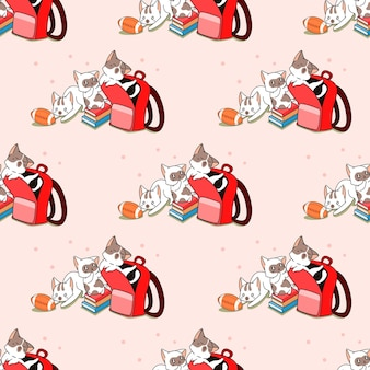 Seamless cats back to school pattern