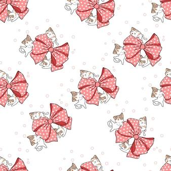 Seamless cats and big ribbon pattern