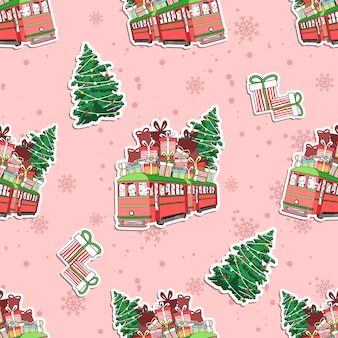 Seamless cats in cristmas day pattern