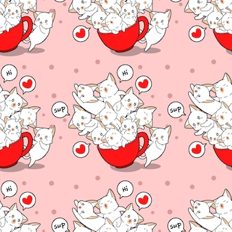 Seamless cats and in cup pattern