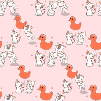 Seamless cats and duck balloon pattern