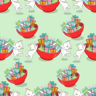 Seamless cats and gifts pattern