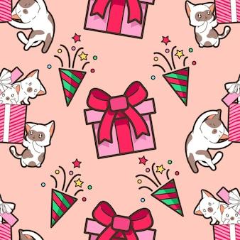 クリスマスパーティーパターンのシームレスな猫