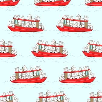 赤いボートパターンのシームレスな猫