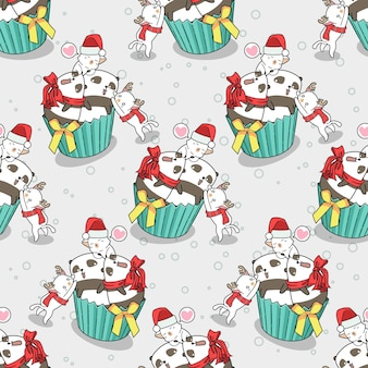 Seamless cats and pandas in christmas day pattern