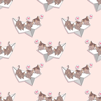 Seamless cats on the paper plane pattern