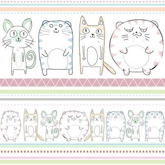 Бесшовный фон из кошек