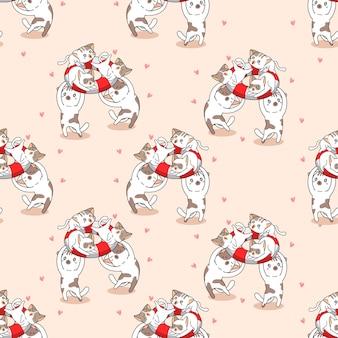 Бесшовные кошки с рисунком спасательный круг