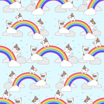 Бесшовные кошки с рисунком радуги