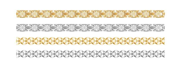シームレスなチェーンボーダー。金と銀のチェーンは、白い背景で隔離のネックレスやブレスレットのアクセサリーのための高価なジュエリーオブジェクトを要素します。ベクトルイラスト