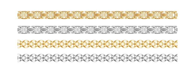 Seamless chain borders. gold and silver chains elements expensive jewelry objects for necklaces and bracelet accessories isolated on white background. vector illustration